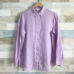 J Jill Love Linen Shirt Light Purple